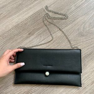 Black clutch with silver chain